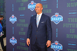 April 26, 2018 - Arlington, TX, U.S. - ARLINGTON, TX - APRIL 26:  Penn State head football coach James Franklin on the Red Carpet prior to the 2018 NFL Draft at AT&T Statium on April 26, 2018 at AT&T Stadium in Arlington Texas.  (Photo by Rich Graessle/Icon Sportswire) (Credit Image: © Rich Graessle/Icon SMI via ZUMA Press)