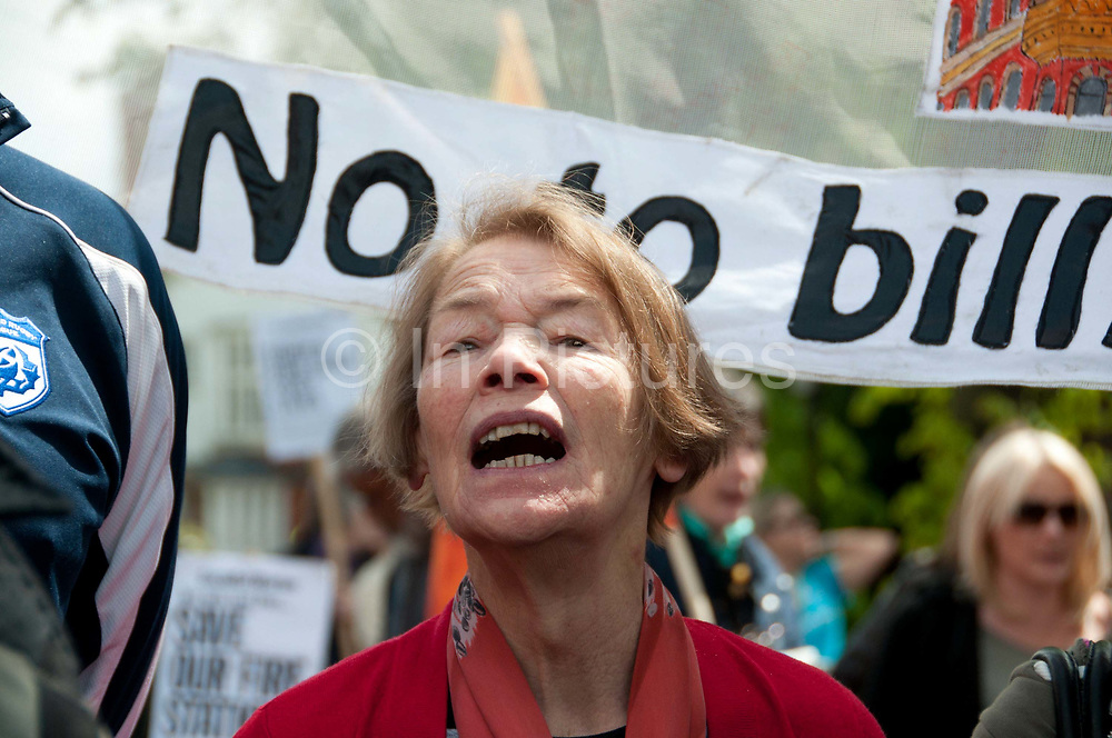 Belsize Park, London, residents join firefighters to protest at proposed closure of the local fire station. Glenda Jackson MP  for Hampstead and Kilburn