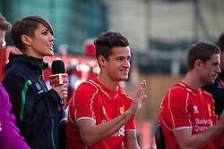 LIVERPOOL, ENGLAND - Thursday, April 10, 2014: Liverpool's Philippe Coutinho Correia at the launch of the new Warrior home kit for 2014/2015 at the Liverpool One shopping centre. (Pic by David Rawcliffe/Propaganda)