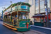 Trolley Car at the Grove at Christmas, Los Angeles, California, USA