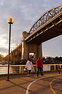 The Burrard Street Bridge at sunset, in Vancouver, British Columbia