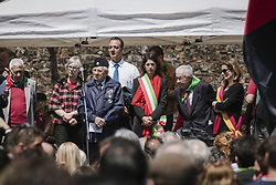 April 25, 2017 - Rome, Italy - Mayor of Rome Virginia Raggi at the celebrations for the 72nd anniversary of italian Liberation from fascism. Rome, 25th of april 2017. (Credit Image: © Jacopo Landi/NurPhoto via ZUMA Press)