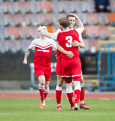 Brora Rangers Martin McLean celebrates after scoring their goal. Edinburgh City 1 v 1 Brora Rangers, 1st leg, Pyramid Playoffs at Meadowbank, 25/4/2015.