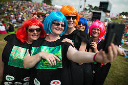 © Licensed to London News Pictures . 08/08/2015 . Siddington , UK . Fans at the Rewind Festival of 1980s music , fashion and culture at Capesthorne Hall in Macclesfield . Photo credit: Joel Goodman/LNP