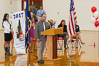 Tate Aldrich addresses the students of Laconia High School after being named 2017 New Hampshire Teacher of the Year on Friday afternoon.  (Karen Bobotas/for the Laconia Daily Sun)