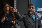 Moazzam Begg is a former Guantánamo Bay detainee - A march against racism, organised by Stand Up to Racism and supporterd by the TUC and most major unions including Unison, Unite, The PCS and the NUT. It started in Portland place and ended up in Parlaiment Square, Westminster - London 18 Mar 2017.