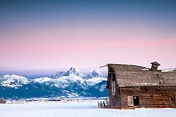 Old barn, sunset, Grand Tetons, Teton Valley, Idaho
