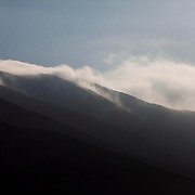 The Camanchaca - a local name for fog - rolls over the hills in Chaneral, Chile