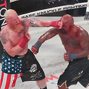 HOLLYWOOD, FL - JUNE 27: Joey Beltran (R) and Sam Shewmaker exchange blows during the Bare Knuckle Fighting Championships at the Seminole Hard Rock & Casino on June 27, 2021 in Hollywood, Florida. (Photo by Alex Menendez/Getty Images) *** Local Caption *** Joey Beltran; Sam Shewmaker