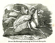 Dermot MacMurrough [King of Leinster in Ireland] carrying off the Princess Dovergilda from the book History of England : with separate historical sketches of Scotland, Wales, and Ireland; from the invasion of Julius Cæsar until the accession of Queen Victoria to the British throne. By Russell, John, A. M., Published in Philadelphia by Hogan & Thompso in 1844