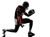 one american football player joyful celebrating in silhouette shadow on white background
