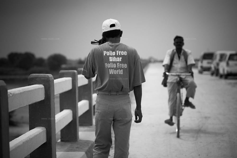 A campaign activist wearing a shirt for a Polio free Bihar. Alauli block, Khagaria, Bihar.
