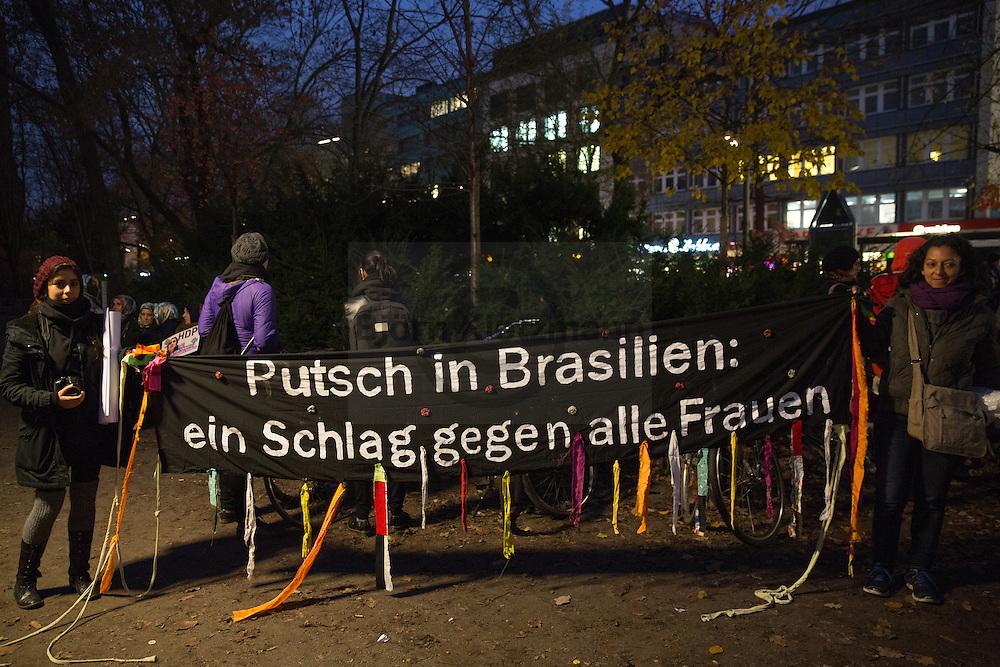 "Berlin, Germany - 25.11.2016<br /> <br /> Internationalist women protest march in Berlin on the ""International Day for the Elimination of Violence against Women"".<br /> <br /> Internationalistische Frauen-Demonstration in Berlin am ""Internationaler Tag gegen Gewalt an Frauen"". <br /> <br /> Photo: Bjoern Kietzmann"