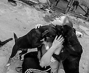 Katie Czahor, of Pennsylvania, plays with dogs in an open area of the shelter.