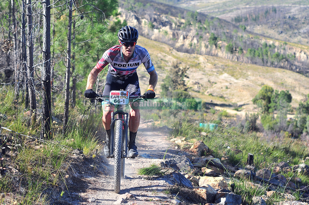 WELLINGTON SOUTH AFRICA - MARCH 23: Nic Lamond during stage five's 39km time trial on March 23, 2018 in Wellington, South Africa. Mountain bikers gather from around the world to compete in the 2018 ABSA Cape Epic, racing 8 days and 658km across the Western Cape with an accumulated 13 530m of climbing ascent, often referred to as the 'untamed race' the Cape Epic is said to be the toughest mountain bike event in the world. (Photo by Dino Lloyd)