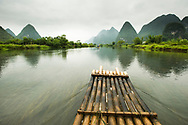 The bow of a bamboo raft on the Li River near Yangshuo, China.