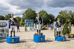 Podium BK Jumping, Verlooy Jos, Clemens Pieter, Vanderhasselt Yves<br /> Belgisch Kampioenschap Jumping  <br /> Lanaken 2020<br /> © Hippo Foto - Dirk Caremans<br /> <br />  05/09/2020