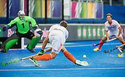 The Netherlands Sander De Wijn fires the ball across the goal. Russia v The Netherlands - Unibet EuroHockey Championships, Lee Valley Hockey & Tennis Centre, London, UK on 25 August 2015. Photo: Simon Parker