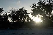 Resort village on the East Coast of Zanzibar at sunset