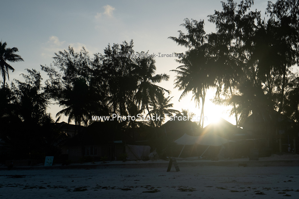 Resort village on the East Coast of Zanzibar at sunset