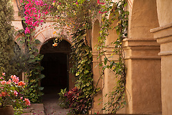 North America, Mexico, Oaxaca Province, Oaxaca, courtyard of arches and bouganvilla flowers in Camino Real Hotel, a  former convent (Ex-Convento de Santa Catalina)