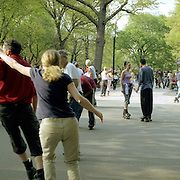 With space at a premium in the vast metropolis of Manhattan, New York City, locals find ways and means for pastime exercise and recreational activities as they and go about their daily lives..Rollerskating in Central Park on May 4, 2004. Photo Tim Clayton