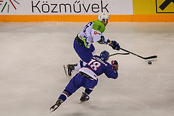Jan Urbas of Slovenia during Ice Hockey match between National Teams of Great Britain and Slovenia in Round #1 of 2018 IIHF Ice Hockey World Championship Division I Group A, on April 22, 2018 in Budapest, Hungary. Photo by David Balogh / Sportida