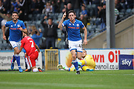 GOAL Ian Henderson celebrates opening the scoring during the EFL Sky Bet League 1 match between Rochdale and Gillingham at Spotland, Rochdale, England on 23 September 2017. Photo by Daniel Youngs.