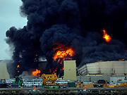 Savannah Firefighters battle a blaze in a warehouse at the Georgia Ports Authority Ocean Terminal, Saturday, Feb. 8, 2014, in Savannah, Ga. (AP Photo/Stephen B. Morton)
