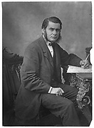Thomas Henry Huxley (1825-1895) British biologist, supporter of Darwin and evolution. Grandfather of Julian and Aldous Huxley. From 'The Popular Science Review', London, April 1866. Woodburytype.