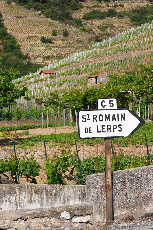 road sign vineyard st romain cornas rhone france
