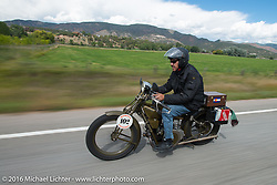 Ciro Nisi of Italy riding his 1924 Moto Guzzi Sport on Interstate 70 near Grand Junction, Colorado during Stage 10 (278 miles) of the Motorcycle Cannonball Cross-Country Endurance Run, which on this day ran from Golden to Grand Junction, CO., USA. Monday, September 15, 2014.  Photography ©2014 Michael Lichter.