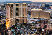 Aerial view of Venetian and Palazzo Hotels the Strip, Las Vegas, Nevada, USA
