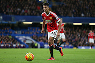 Cameron Borthwick-Jackson of Manchester United during the Barclays Premier League match between Chelsea and Manchester United at Stamford Bridge, London, England on 7 February 2016. Photo by Ellie Hoad.