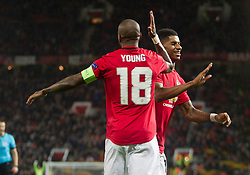 Marcus Rashford of Manchester United (R) celebrates after scoring his sides third goal - Mandatory by-line: Jack Phillips/JMP - 07/11/2019 - FOOTBALL - Old Trafford - Manchester, England - Manchester United v Partizan - UEFA Europa League