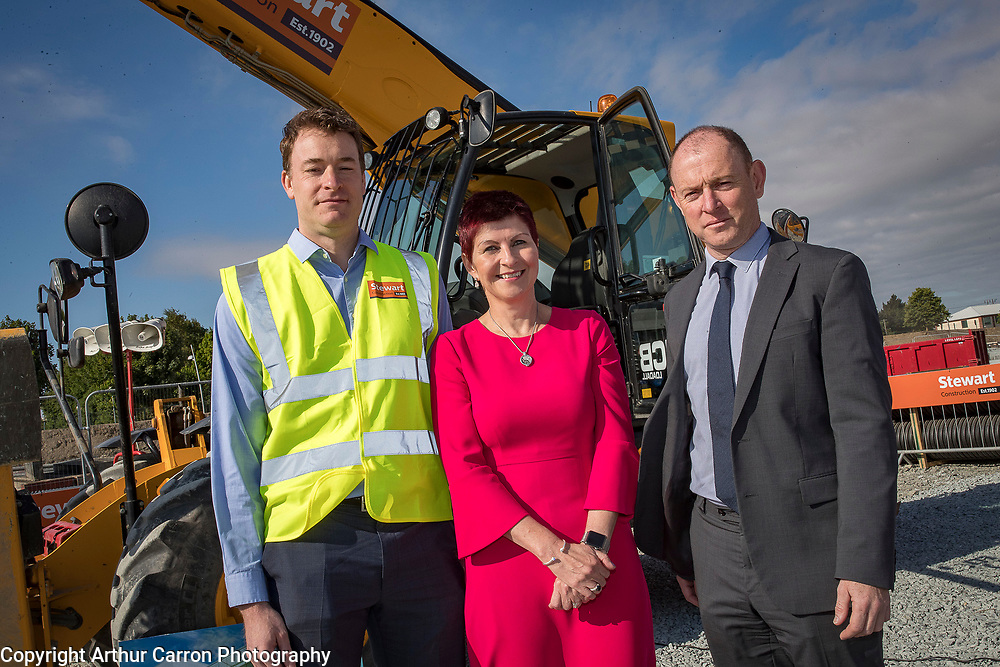 NO FEE PICTURES<br />13/7/18 Irish Life has formally broken ground on its new Customer Centre in Dundalk, Co Louth. The building has been designed by leading Dublin based architects, wejchert Architects and is being delivered by main contractor Stewart Construction. The new site area is 1.6 hectares with an office size of 45,000 sq ft. It is expected that over 200 construction workers will be on site during the construction phase of the project, which will be a significant boost to local employment in the Dundalk Area. Pictured are : Paul Stewart, MD Stewart Construction, Aine Cassidy, Excutive Manager, Dundalk Office, David Harney, CEO Irish Life,  Picture :Arthur Carron