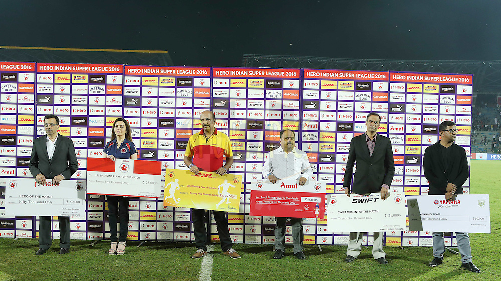 Mrs Nita Ambani and the presentation party during the opening ceremony and match 1 of the Indian Super League (ISL) season 3 between NorthEast United FC and Kerala Blasters FC held at the Indira Gandhi Athletic Stadium in Guwahati, India on the 1st October 2016.<br /> <br /> Photo by Ron Gaunt / ISL/ SPORTZPICS