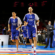 Anadolu Efes's Milko Bjelica (L) and Nenad Krstic (R) during their Turkish Airlines Euroleague Basketball Top 16 Round 3 match Anadolu Efes between CSKA Moscow at Abdi ipekci arena in Istanbul, Turkey, Thursday 15, 2015. Photo by Aykut AKICI/TURKPIX