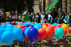 Old Palace Yard, Westminster, July 25th 2015. Protesters gather outside the Houses of Parliament to demand electoral reform, including proportional representation rather than the first-past-the-post method that saw the Tories gain a majority. :