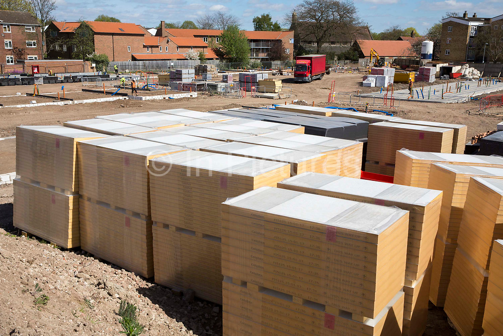 Insulation panels ready for ready for new house building on a residential home construction site in Norwich. Norfolk.