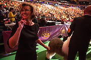 New York City, US, 12 February 2013. An eager handler is about to enter the ring for the Best in Show competition at the 137th annual Westminster Kennel Club dog show.