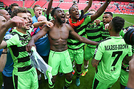 FGR players celebrate during the Vanarama National League Play Off Final match between Tranmere Rovers and Forest Green Rovers at Wembley Stadium, London, England on 14 May 2017. Photo by Shane Healey.