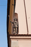 Knight statue in Maly rynek or Small Market Square in Krakow Poland