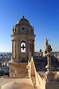 Cathedral belfry looking west over Barrio de la Vina, Cadiz, Spain