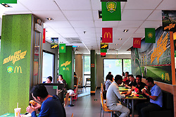 April 26, 2018 - Beijing, Beijing, China - Beijing, CHINA-26th April 2018: A green McDonald's Store can be seen in Beijing, April 26th, 2018, marking the upcoming football match. The color of green is the symbol of Beijing Guoan Football Club. (Credit Image: © SIPA Asia via ZUMA Wire)
