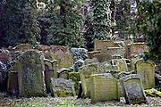 Duitsland, Frankfurt, 10-3-2008..Oude Joodse begraafplaats in het centum van de stad...Foto: Flip Franssen