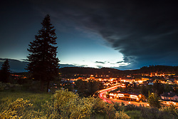 """""""Downtown Truckee 36"""" - Photograph of little Bitterbrush wildflowers above historic Downtown Truckee, California, shot just after sunset."""