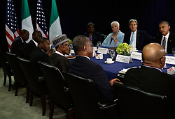 US President Barack Obama (R) listens at a bilateral meeting with the The President of the Federal Republic of Nigeria Muhammadu Buhari (left wearing hat) during the United Nations 71st session of the General Debate at the United Nations General Assembly at United Nations headquarters in New York City, NY, USA, September 20, 2016. Photo by Peter Foley/Pool/ABACAPRESS.COM