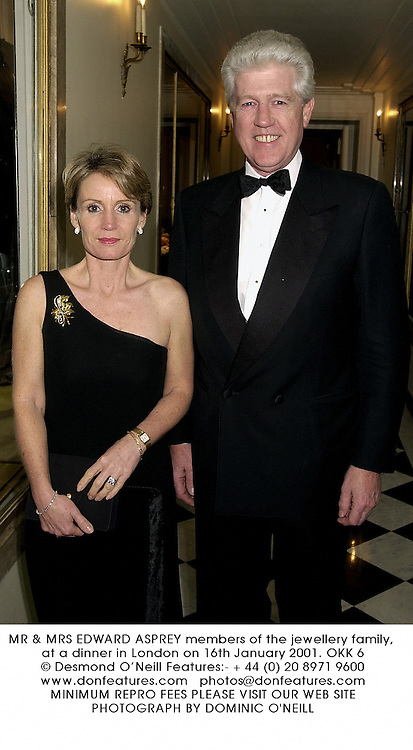 MR & MRS EDWARD ASPREY members of the jewellery family, at a dinner in London on 16th January 2001.OKK 6