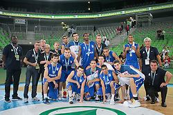 Second place for France during ceremony after Lithuania won and become European Champions U-20 after basketball match between National teams of Lithuania and France in Final match of U20 Men European Championship Slovenia 2012, on July 22, 2012 in SRC Stozice, Ljubljana, Slovenia. Lithuania defeated France 50:49. (Photo by Matic Klansek Velej / Sportida.com)